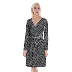 Tribal Stripes Pattern Long Sleeve Velvet Front Wrap Dress