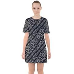 Tribal Stripes Pattern Sixties Short Sleeve Mini Dress