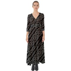 Tribal Stripes Pattern Button Up Boho Maxi Dress
