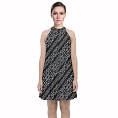 Tribal Stripes Pattern Velvet Halter Neckline Dress