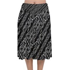 Tribal Stripes Pattern Velvet Flared Midi Skirt