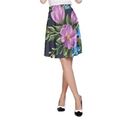 Beautiful Floral Pattern A Line Skirt