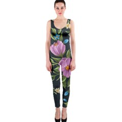 Beautiful Floral Pattern Onepiece Catsuit