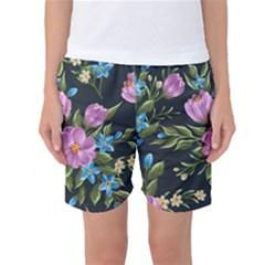Beautiful Floral Pattern Women s Basketball Shorts