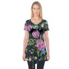 Beautiful Floral Pattern Short Sleeve Tunic