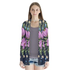 Beautiful Floral Pattern Drape Collar Cardigan