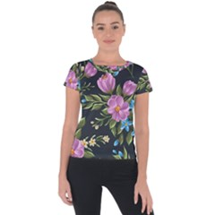 Beautiful Floral Pattern Short Sleeve Sports Top
