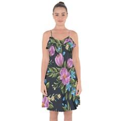 Beautiful Floral Pattern Ruffle Detail Chiffon Dress