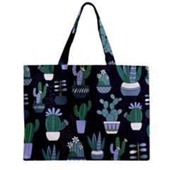 Cactus Pattern Zipper Mini Tote Bag