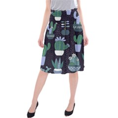 Cactus Pattern Midi Beach Skirt
