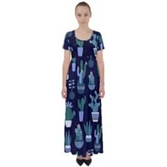 Cactus Pattern High Waist Short Sleeve Maxi Dress