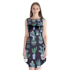 Cactus Pattern Sleeveless Chiffon Dress