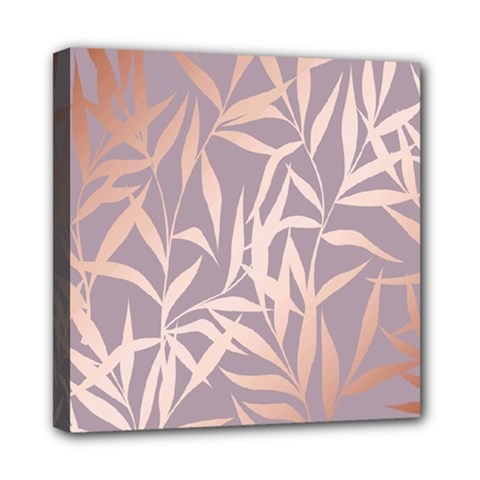 Rose Gold, Asian,leaf,pattern,bamboo Trees, Beauty, Pink,metallic,feminine,elegant,chic,modern,wedding Mini Canvas 8  X 8