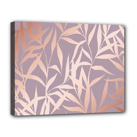 Rose Gold, Asian,leaf,pattern,bamboo Trees, Beauty, Pink,metallic,feminine,elegant,chic,modern,wedding Canvas 14  X 11