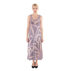 Rose Gold, Asian,leaf,pattern,bamboo Trees, Beauty, Pink,metallic,feminine,elegant,chic,modern,wedding Sleeveless Maxi Dress