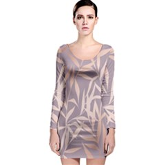 Rose Gold, Asian,leaf,pattern,bamboo Trees, Beauty, Pink,metallic,feminine,elegant,chic,modern,wedding Long Sleeve Bodycon Dress