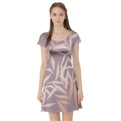 Rose Gold, Asian,leaf,pattern,bamboo Trees, Beauty, Pink,metallic,feminine,elegant,chic,modern,wedding Short Sleeve Skater Dress