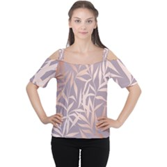 Rose Gold, Asian,leaf,pattern,bamboo Trees, Beauty, Pink,metallic,feminine,elegant,chic,modern,wedding Cutout Shoulder Tee