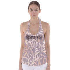 Rose Gold, Asian,leaf,pattern,bamboo Trees, Beauty, Pink,metallic,feminine,elegant,chic,modern,wedding Babydoll Tankini Top