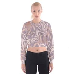 Rose Gold, Asian,leaf,pattern,bamboo Trees, Beauty, Pink,metallic,feminine,elegant,chic,modern,wedding Cropped Sweatshirt