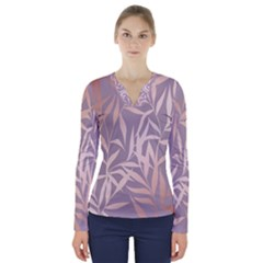 Rose Gold, Asian,leaf,pattern,bamboo Trees, Beauty, Pink,metallic,feminine,elegant,chic,modern,wedding V Neck Long Sleeve Top