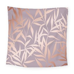 Rose Gold, Asian,leaf,pattern,bamboo Trees, Beauty, Pink,metallic,feminine,elegant,chic,modern,wedding Square Tapestry (large)