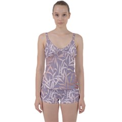 Rose Gold, Asian,leaf,pattern,bamboo Trees, Beauty, Pink,metallic,feminine,elegant,chic,modern,wedding Tie Front Two Piece Tankini