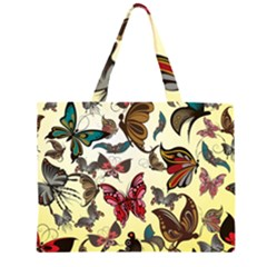 Colorful Butterflies Zipper Large Tote Bag
