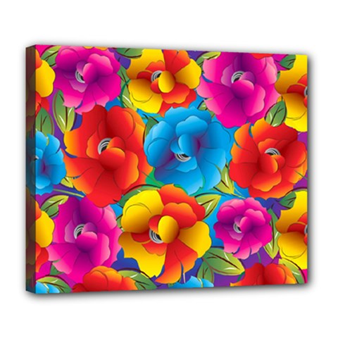 Neon Colored Floral Pattern Deluxe Canvas 24  X 20