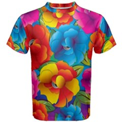 Neon Colored Floral Pattern Men s Cotton Tee