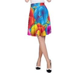 Neon Colored Floral Pattern A Line Skirt