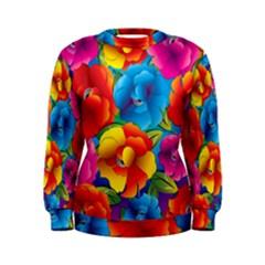 Neon Colored Floral Pattern Women s Sweatshirt
