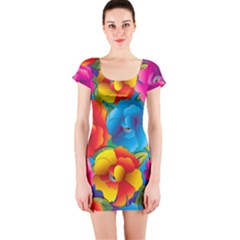 Neon Colored Floral Pattern Short Sleeve Bodycon Dress