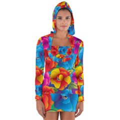Neon Colored Floral Pattern Long Sleeve Hooded T Shirt