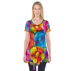 Neon Colored Floral Pattern Short Sleeve Tunic