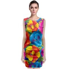 Neon Colored Floral Pattern Classic Sleeveless Midi Dress
