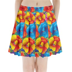 Neon Colored Floral Pattern Pleated Mini Skirt