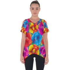 Neon Colored Floral Pattern Cut Out Side Drop Tee