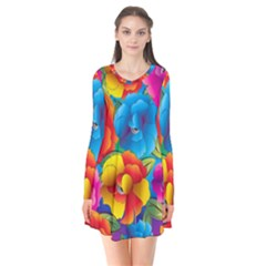 Neon Colored Floral Pattern Flare Dress