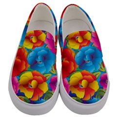Neon Colored Floral Pattern Men s Canvas Slip Ons
