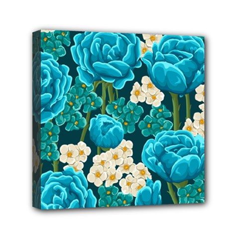 Light Blue Roses And Daisys Mini Canvas 6  X 6