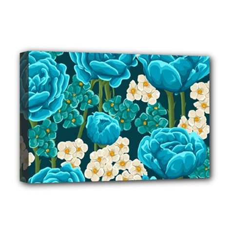 Light Blue Roses And Daisys Deluxe Canvas 18  X 12