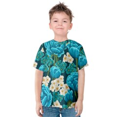Light Blue Roses And Daisys Kids  Cotton Tee