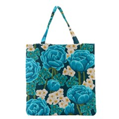 Light Blue Roses And Daisys Grocery Tote Bag