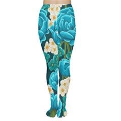 Light Blue Roses And Daisys Women s Tights