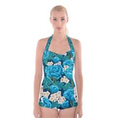 Light Blue Roses And Daisys Boyleg Halter Swimsuit