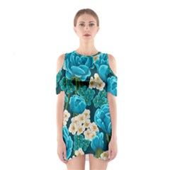 Light Blue Roses And Daisys Shoulder Cutout One Piece