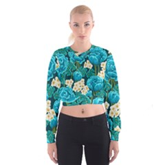Light Blue Roses And Daisys Cropped Sweatshirt