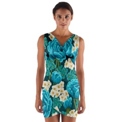 Light Blue Roses And Daisys Wrap Front Bodycon Dress