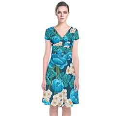 Light Blue Roses And Daisys Short Sleeve Front Wrap Dress